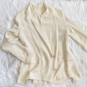 Acne Double Breasted SILK Ivory Jacket 34